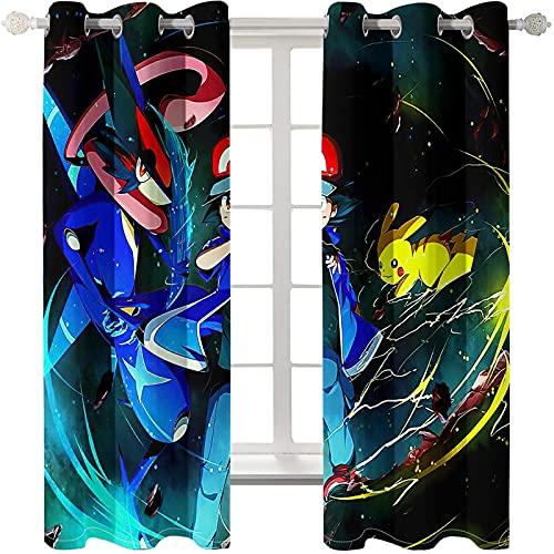Lot de 2 Rideaux Occultants Isolant Thermique Reducteur de Bruit - Rideau Opaque avec Œillets, Pokémon 3D Rideaux pour Salon et Chambre Enfant 2 x 75 x 166cm