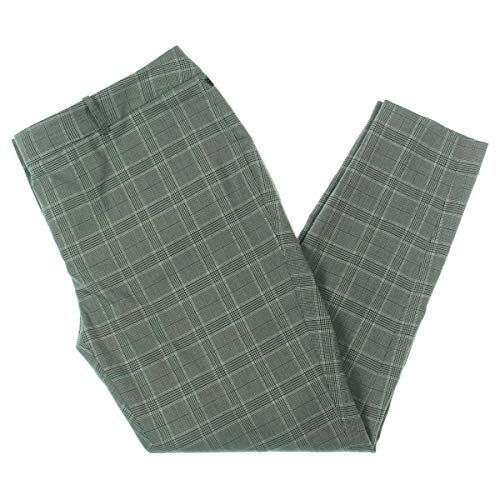 Calvin Klein Womens Plus Plaid Ankle Dress Pants Gray 16W
