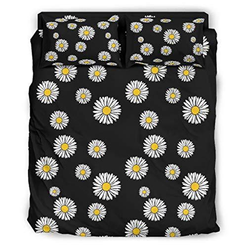 Haythan Juego de cama de crisantemo, 4 piezas, fundas de almohada, edredón – crisantemo, suave, juego de sábanas, cubierta blanca, 240 x 264 cm
