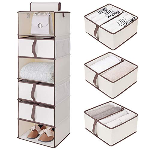 """StorageWorks 6-Shelf Hanging Closet Shelves, Hanging Closet Organizer with 3 Divisible Drawers, Canvas, Linen White, 13.6""""W x 12.2""""D x 42.5""""H"""