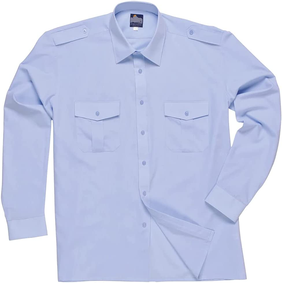 Portwest S102 - Piloto camiseta de manga larga, color Azul, talla 175
