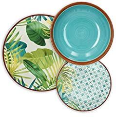Idea Regalo - Tognana Jungle Servizio tavola 18 Pezzi, Porcellana, Multicolor