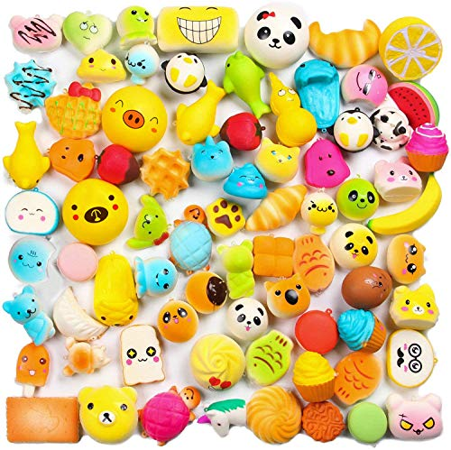 WATINC Random 30 pcs Squishies Cream Scented Kawaii Simulation Lovely Toy Medium Mini Soft Food Squishy, Phone Straps (30P Donuts)