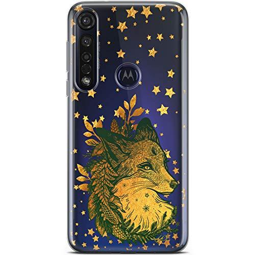 Mertak Clear Phone Case Compatible with Motorola Moto G9 G8 Plus E6s G7 G6 Play E6 Z4 Christmas Silicone Lightweight Design Flexible Boho Gold Stars Protective TPU Slim Fox Animal Cover Fern