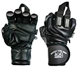 Epic Leather Gym Gloves with Built in 2' Wide Wrist Wraps Best Grip & Design for Weightlifting Power Lifting Bodybuilding & Strength Training Workout Exercises (Black, Large 8 1/8' - 8 1/2')