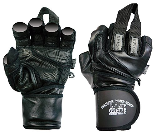 "Epic Leather Gym Gloves with Built in 2"" Wide Wrist Wraps Best Grip & Design for Weightlifting Power Lifting Bodybuilding & Strength Training Workout Exercises (Black, Medium 7 5/8"" - 8"")"