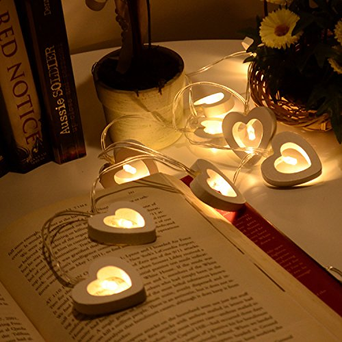 20 Led Warm White Wooden Heart Fairy String Light Xmas Wedding Decor Party Lighting Battery Powered (20 LED)