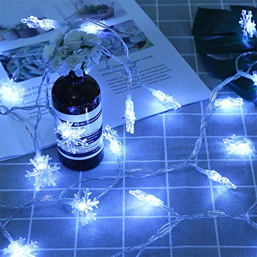 CCINEE 20FT Christmas String Lights,40 LED Snowflake Fairy String Light Battery Operated for Home Xmas Party Decoration