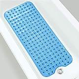 GUJIN 100 x 40 cm Duschmattem, Antirutschmatte Badewanne mit Saugnapf, Kein Chemie-Geruch Oder Sicher PVC Badewannenmatte, Extra lang, Maschinenwaschbar(Blau)