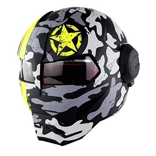ZOLOP Motorrad-Integralhelm, DOT-Zulassung, Iron Man Transformers Harley-Flip-Helm im Retro-Stil (M, Matte F5)