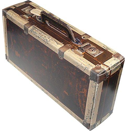 Karton mit Holzoptik Vintage-Koffer – WK 2er – Kleiner Holzkoffer aus Pappe als Geschenkkorb zum Geburtstag oder zu Einer Reise – Präsentkorb für Zwei Weinflaschen oder als Spielkoffer für Kinder