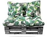 Conjunto de Cojines (Asiento + Respaldo + 2 Cojines Decorativos) para palets. Cojín de Palets y de sillones de 2 plazas. Ideal para Interior y Exterior (Hojas Verdes)