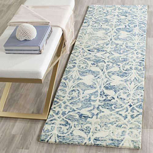 Safavieh Chatham Collection CHT765C Handmade Dark Blue and Ivory Premium Wool Runner (2'3' x 7')