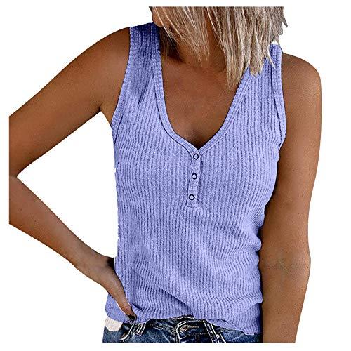 Donasty Top Damen Sommer Sexy Ärmellos Shirt Crop Tops Damen Mode V-Ausschnitt Bluse Mode Camisole Tank Damen Tops Damen T-Shirt Damen Tank Tops Sommer Oberteile Shirts Einfarbig Basic Tops