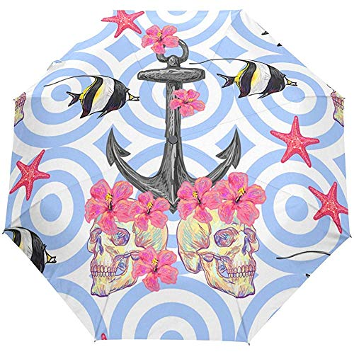Gestreifter Anker-Blumenblumen-Ozean-Seestarfish-Auto-Öffnungs-nahes Sun-Regen-Regenschirm