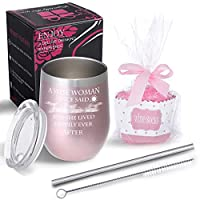 ステンレススチールワインタンブラー+カップケーキワインソックスギフトセット 12オンス ダブル断熱ステムレスワイングラス 蓋付き 賢い女性と友達への誕生日ギフト