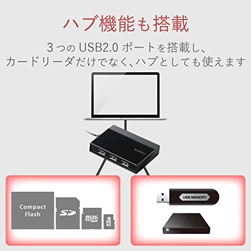 エレコムメモリリーダライタUSBハブ付SD+MS+CF+XDブラックMR-C24BK
