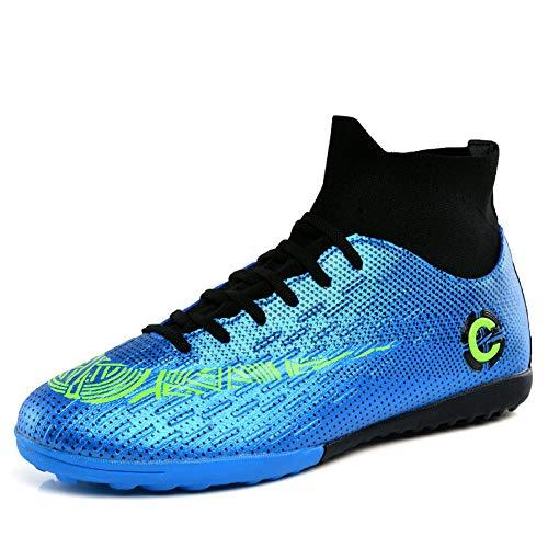 Mengxx Fußballschuhe für Herren, FG-Schuhe (fester Untergrund) mit hohem Schaft, für Sport, - Blue R - Größe: 43 EU