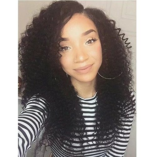 Unprocessed Brazilian Perruque Cheveux Humain Full Lace Wigs Deep Kinky Curly wave Sans Colle 150% Density Lace Wigs with Baby Hair (10 inch,1B)