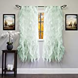 Sweet Home Collection 2 Pack Window Panel Sheer Voile Vertical Ruffled Waterfall Curtains, 63' x 50', Mint