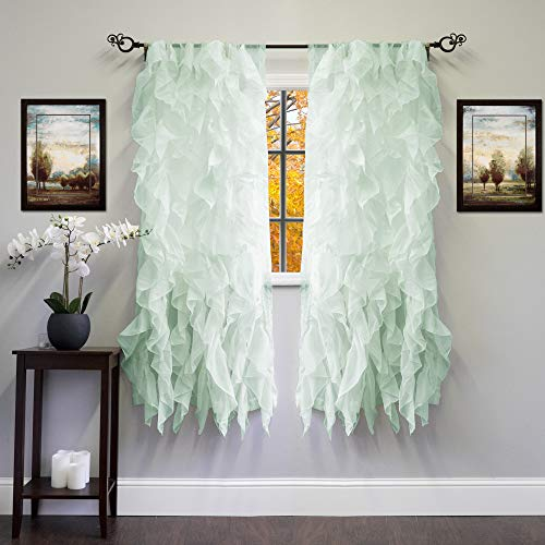 """Sweet Home Collection 2 Pack Window Panel Sheer Voile Vertical Ruffled Waterfall Curtains, 63"""" x 50"""", Mint"""