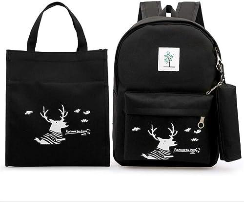 Chengzuoqing Schüler Schultasche Cute Deer Printing 3 in 1 mädchen Rucksack Sets Packung mit 3 Stück Studenten Rucksack Bookbag Leinwand Schultaschen Leichte Studentenrucks e (Farbe   Schwarz