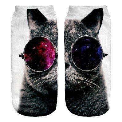 Chaussettes de sport Coton 36-40 Theme 3D Galaxy Lunettes de soleil chat Galaxy Sunglasses Cat Big...