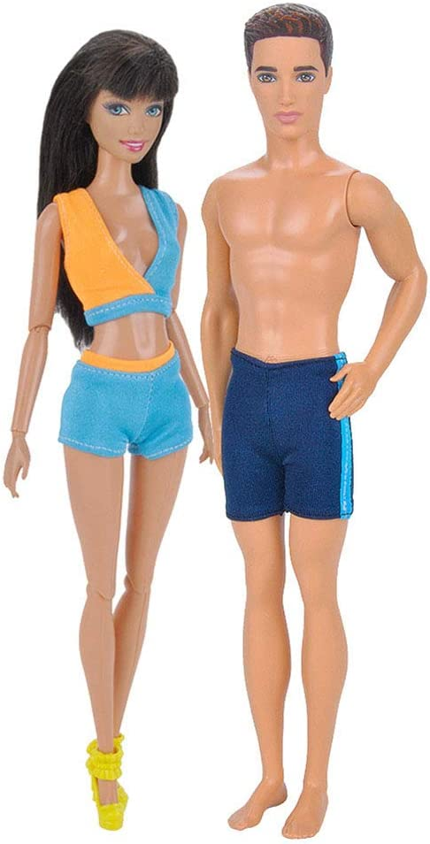 BeesClover Handmade Swimwear Beach Bikini Bathing Swimsuits Outfits for 32/cm Maschio//Femmina 29/cm Dolls 2pcs// Set
