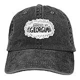 Gorra de béisbol de Georgia dibujada a mano, ajustable, color negro