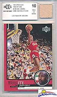 ac8bd6bdf0b 1999 Upper Deck Tribute Michael Jordan Card with a Piece of Authentic Michael  Jordan Game Used