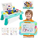 BUENAVO Kids Activity Table Set-2 in 1 Magnetic Drawing Board and Building Brick Table with 150pcs Bricks,Magnetic Colorful Writing Sketch Board Toys for 2 3 4 5 Year Old Boys Girls