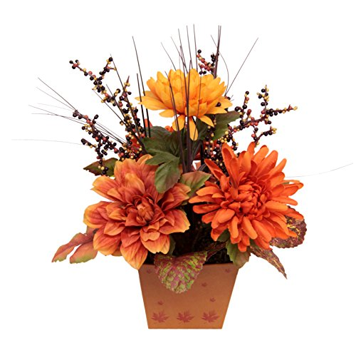 Flair Flower Arrangement Dahlien, Stoff, orange, 26 x 22 x 20 cm