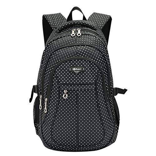SellerFun Kid Child Girl Multipurpose Dot Bookbag School Bag Backpack(1# Black,27L)