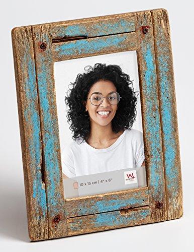 walther design Dupla Portraitrahmen 10x15 cm, blau/natur
