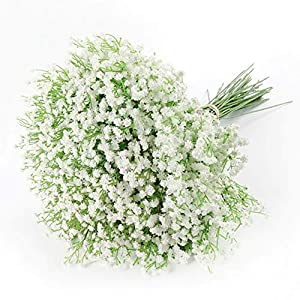 Artificial Baby Breath Gypsophila Flowers Bouquets 15 pcs Real Touch Flowers for Wedding Party DIY Wreath Floral Arrangement Home Decoration (White)
