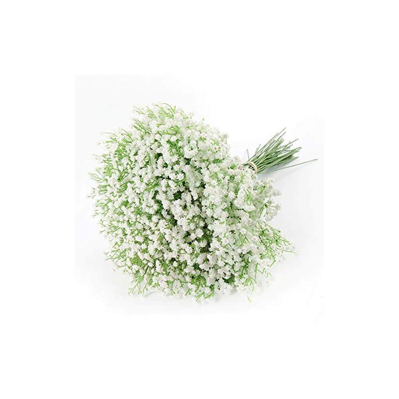 silk flower arrangements artificial baby breath gypsophila flowers bouquets 15 pcs real touch flowers for wedding party diy wreath floral arrangement home decoration (white)