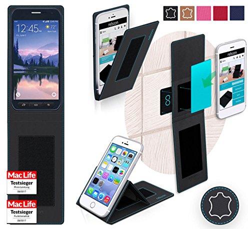 reboon Hülle für Samsung Galaxy S6 Active Tasche Cover Case Bumper | Schwarz Leder | Testsieger