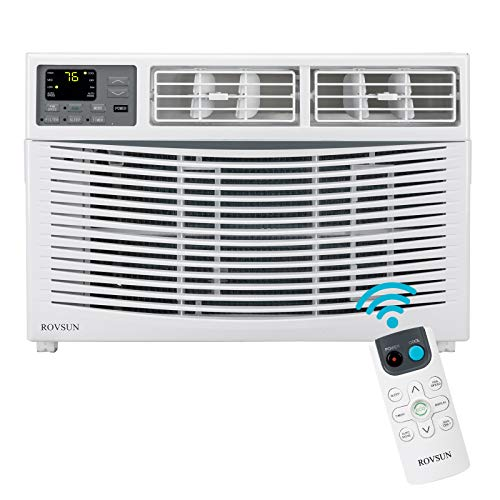 ROVSUN 8000 BTU Window Air Conditioner, Energy Saving AC Unit with Remote Control & Timer Function Ideal for Rooms up to 350 Square Feet, 110V/60Hz, White