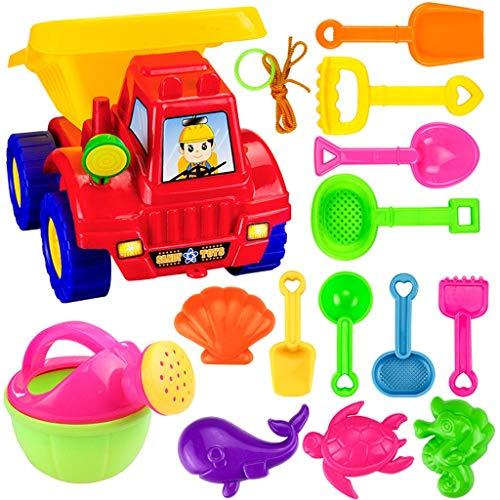 Strandspielzeug Set 14-teiliges Sand Set Kinder-Sandspiel-Set Sand Strand Eimergarnitur Sandkästen und Sandspielzeug Sandkasten-Spielzeug mit Vier-Rad-Wagen zum Spielen am Strand und im Sandkasten