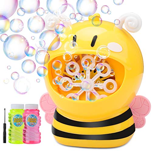Colminsen Bubble Machine Bee Bubble Blower 800+ Bubbles Per Minute, Automatic Bubble Machine for Kids Toddlers Boys Girls Baby Bath Toys Indoor Outdoor, Cute Bubble Maker with Bubble Solution 8oz