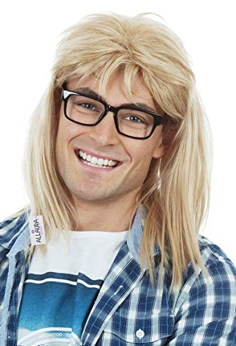 90s Guitar Rocker Blonde Wig + Black Glasses Mens 80s Punk Heavy Metal Blonde Mullet Wigs