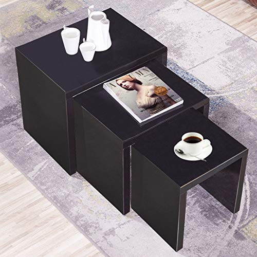 GORVELL Modern Simple Black Nest of 3 Tables, Multi-functional Coffee Tables Nesting Side End Tables, Living Room, Reception Room,Matte