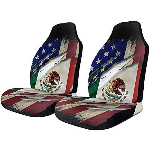 Fall Ing Fundas de asiento de automóvil Orgulloso Bandera de México Americana Frente Funda de asiento de automóvil Protector Cojín Universal