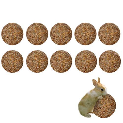 Maotrade 10 Bolas Heno Conejos, Cobayas Accesorios Hecho de Caléndula Natural y Pasto,Adecuado para Accesorios de Conejillo de Indias, Hámster, Totoro y Conejo Juguete