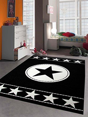 Traum Kinderteppich Spielteppich Kinderzimmer Teppich Sternteppich Sterne Schwarz Creme