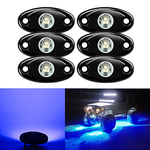 6 Pods LED Rock Lights, Ampper Waterproof LED Neon Underglow Light for Car Truck ATV UTV SUV Jeep Offroad Boat Underbody Glow Trail Rig Lamp (Blue)