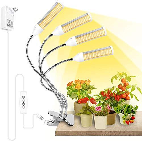 Lampada per Piante, Derlights LED Lampada da Coltivazione Spettro Completo con 4 Teste 288 LEDs, Luce per Piante con Cronometraggio 3/6/12H,4 modalità di commutazione, 6 impostazioni di luminosità