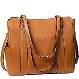 S-ZONE Women Soft Genuine Leather Tote Handbag Shoulder Bag Purse(Medium)