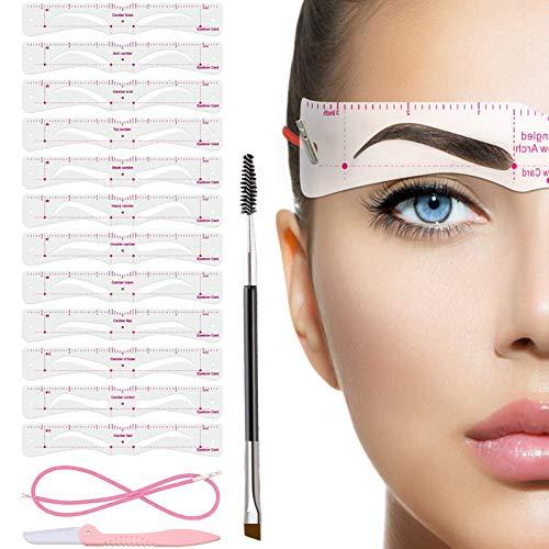 TEUVO Augenbrauen Schablone für Anfänger, 12 Stile Augenbrauen Schablonen Set mit Augenbrauenpinsel und Augenbrauenrasier, Wiederverwendbar DIY-Augenbrauen Stempel für 3 Minuten Make-up