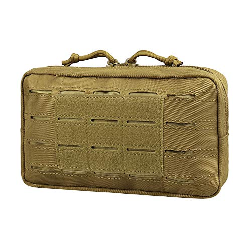 AMYIPO Equipment Multi-Purpose Tactical Molle Admin Pouch EDC Utility Tools Bag Utility Pouches Molle Attachment Military Modular Attachment Small Pouch (Tan)